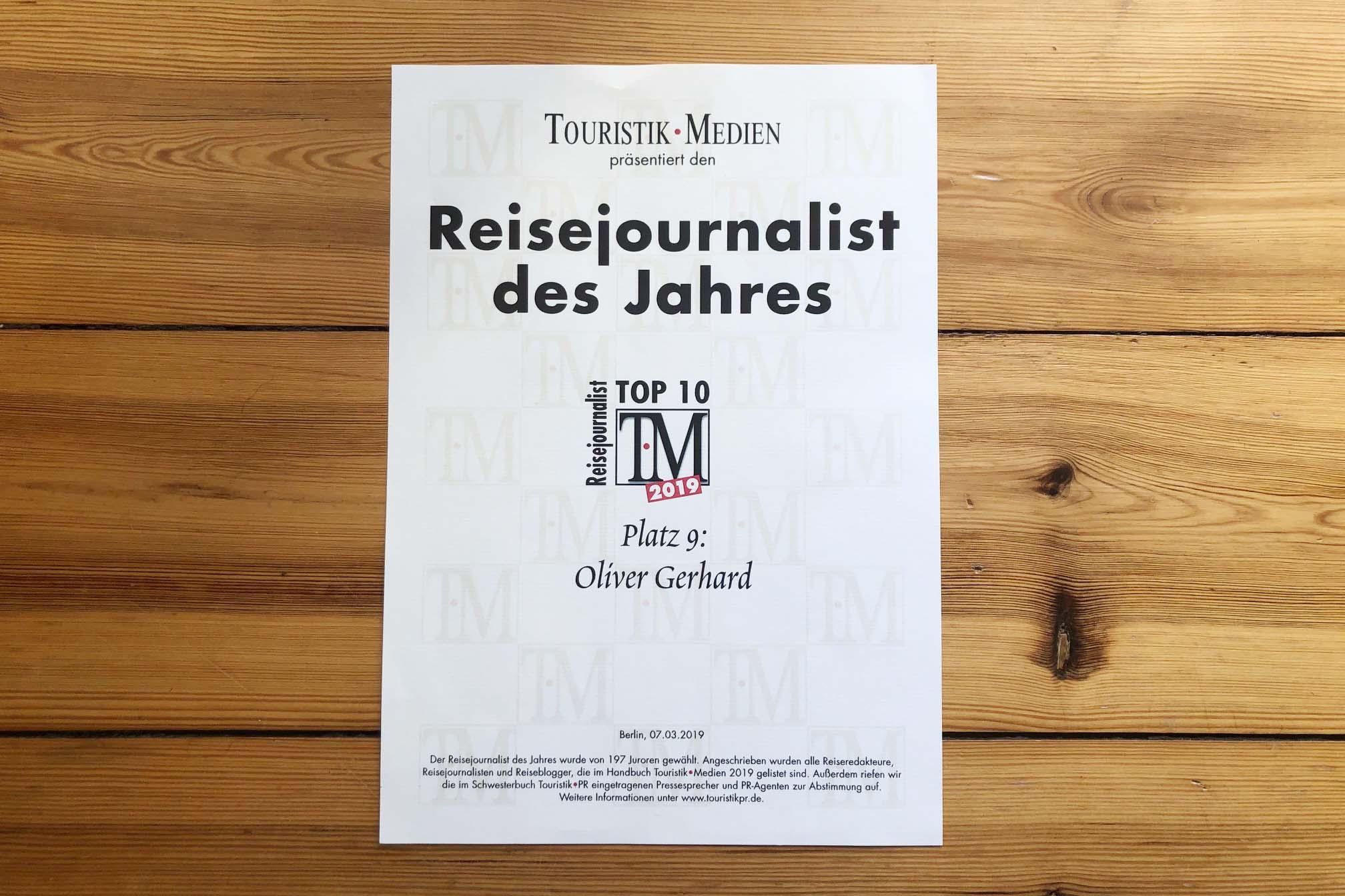 Reisejournalisten des Jahres 2019
