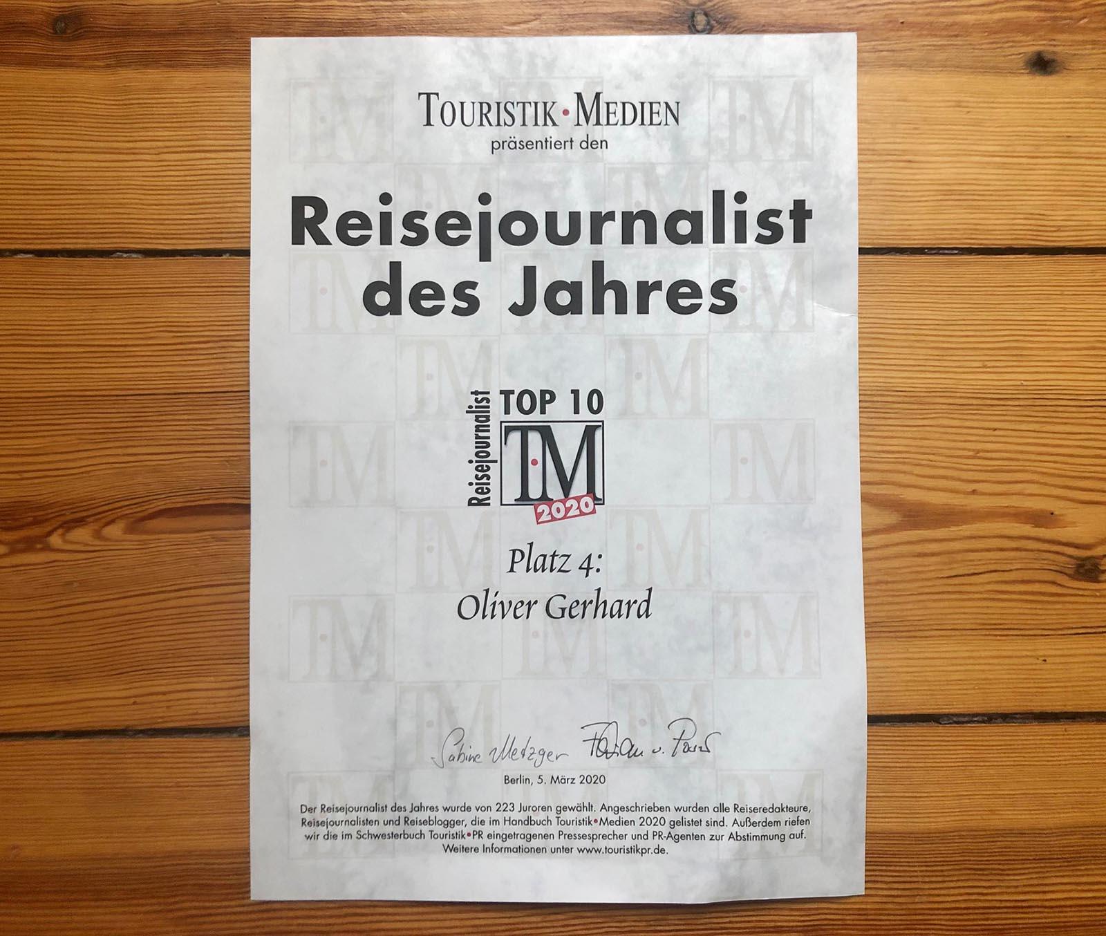 Reisejournalisten des Jahres